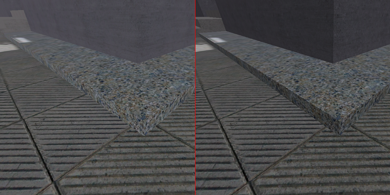 Comparison between improved shading in shadows and conventional flat shading