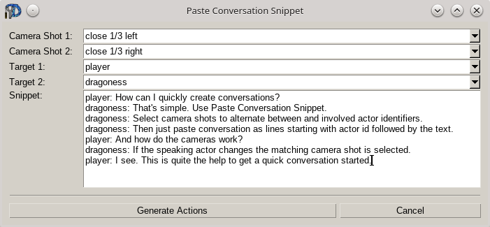 Conversation snippet editor