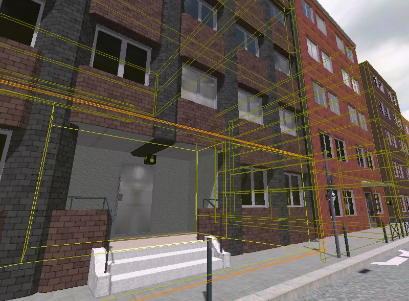 Building facades with occlusion meshes for each segment