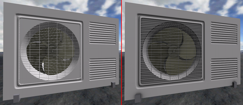 Material with and without ambient occlusion