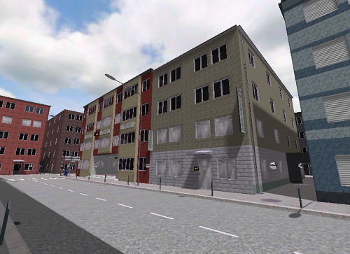 A city scene with individually colored facades using only 3 different tintable materials