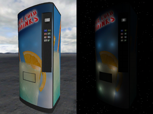 Vending machine at day and night with automatic lights due to the emissivity texture property