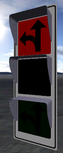 Traffic light with 3 different emissivity.intensity renderables set to different values