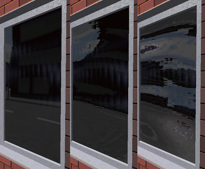 Reflection in a window with different strength of a distorting normal map