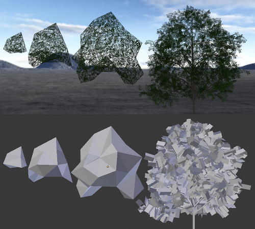 Tree canopy density imposter meshes
